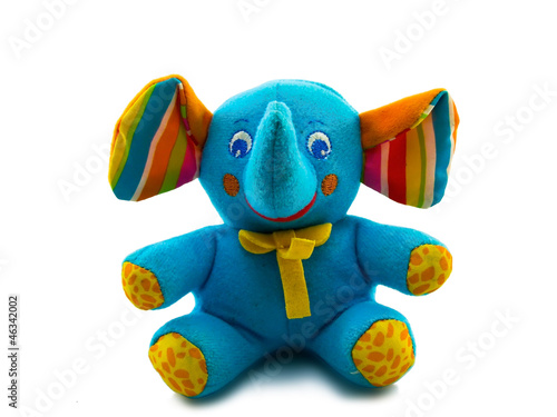toy blue elephant isolated on white background