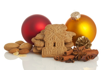 Speculaas biscuits, spices and christmas decoration