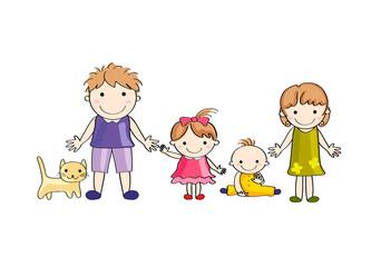 笑顔の家族(背景なし)