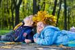 Children having fun in an autumn park