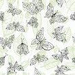 Butterfly. Nature seamless background. Hand drawn illustration.