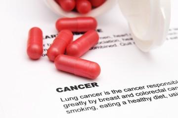 Pills on cancer text