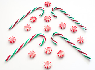 Christmas striped candies and canes
