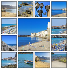 Collage - Beach of Cefalu in Sicily