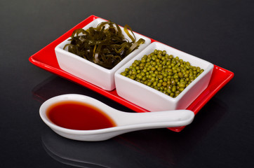 seaweed and Mung beans in a ceramic bowl