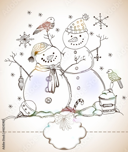 christmas card for xmas design with hand drawn snowmen