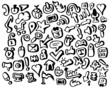 Black and white freehand sketch applications vector icons
