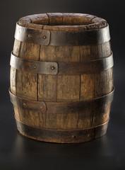 old barrel on black background