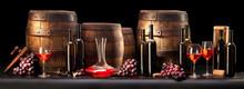 Martwa natura z czerwonego wina i stare beczki
