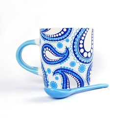 White and Blue Ceramic Mug