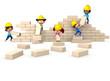 3D kids building a wall