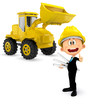 3D Construction worker with a bulldozer