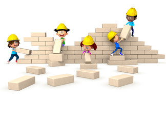 3D kids building a wall