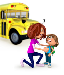 3D Mother sending kid off to school