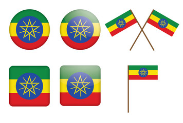 set of badges with flag of Ethiopia vector illustration