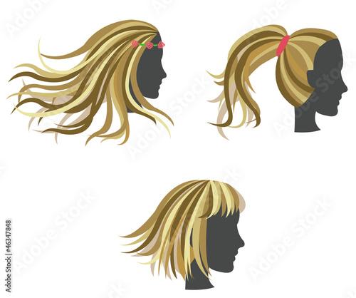 Golden woman hair model on dummies