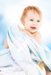 baby with blue towel