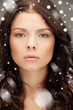 beautiful woman with snow