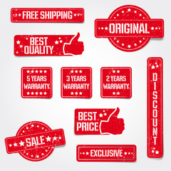 Set of vector grungy stamps - best quality, warranty, sale etc.