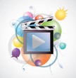 Movie media in abstract background (fade)