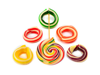 candy in the form of Olympic rings on a white background