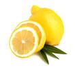 A whole lemon slices on leaves