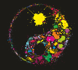 Grunge Yin Yan symbol made of colourful paint splashes