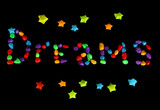 The word Dreams with colorful paper stars with dreams isolated