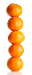 ripe tangerines isolated on white