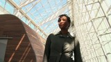 Portrait of African American businesswoman in modern building