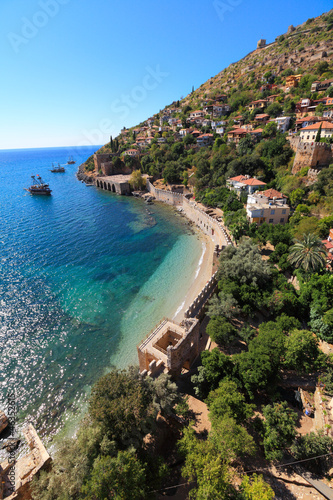 Shore of mediterranean  sea, of Alanya city, Turkey. View on old