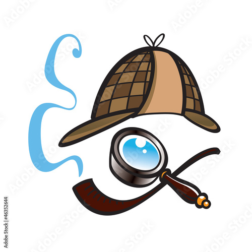 Detective hat, lens and smoking pipe