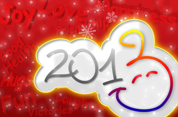 Smiley Happy New Year 2013 Greeting Card with 3d text