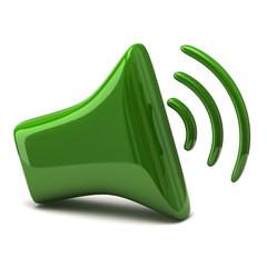Green speaker icon 3d