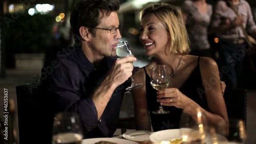 Caucasian couple in restaurant