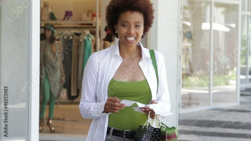 African American woman with credit card