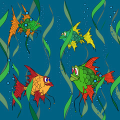 Fish in the sea. Seamless texture.