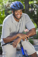 African American Man Riding Bike