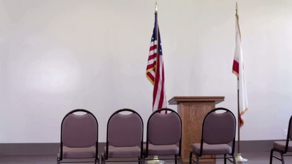 Clip of interior of community meeting room