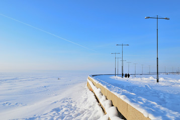 St. Petersburg,  Gulf of Finland  in winter