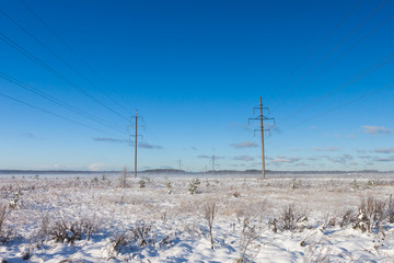 Electric power transmission in the field winter