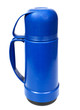 old blue plastic thermos for drinks, it is isolated on the white