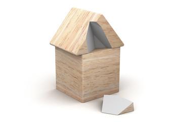 Haus mit defektem Dach