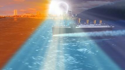 TITANIC sailing over sea with sun and moon