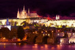 Prague night landscape with charles bridge and dramatic  sky