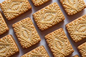 Regularly arranged custard creams