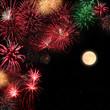 Feuerwerk mit Vollmond