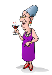 old woman holding beverage