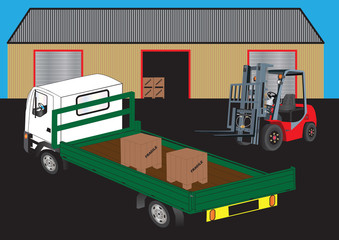 Red Fork Lift  unloading a truck outside a warehouse