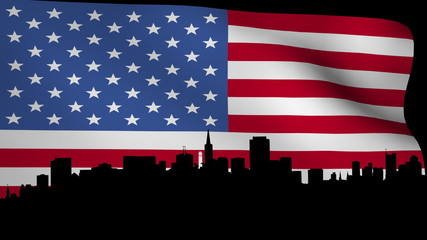 San Francisco skyline with rippling American Flag animation